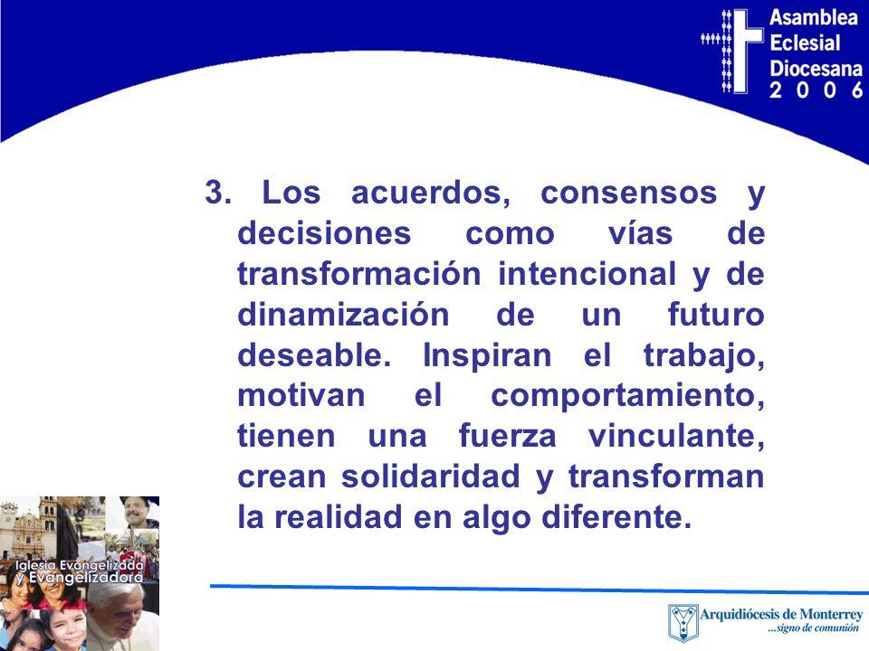 3. Los acuerdos, consensos y decisiones como vías de transformación intencional y de dinamización de un futuro deseable. Inspiran el trabajo, motivan