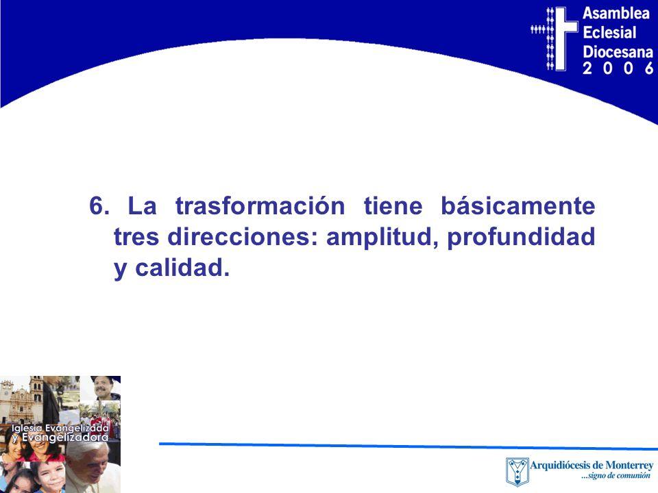 6. La trasformación tiene básicamente tres direcciones: amplitud, profundidad y calidad.