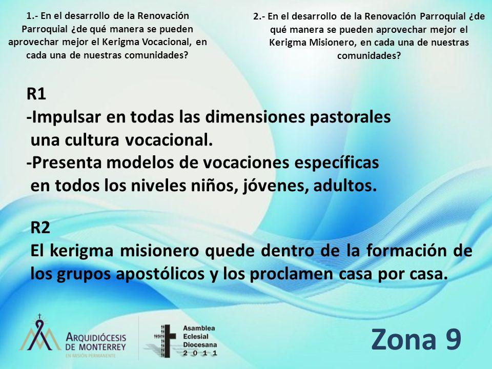Zona 9 R1 -Impulsar en todas las dimensiones pastorales una cultura vocacional. -Presenta modelos de vocaciones específicas en todos los niveles niños