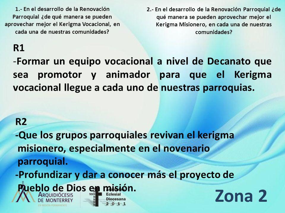 Zona 2 R1 -Formar un equipo vocacional a nivel de Decanato que sea promotor y animador para que el Kerigma vocacional llegue a cada uno de nuestras pa