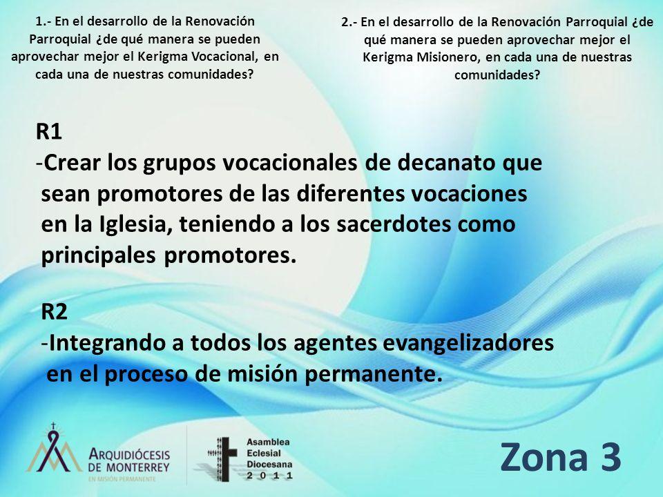 Zona 3 R1 -Crear los grupos vocacionales de decanato que sean promotores de las diferentes vocaciones en la Iglesia, teniendo a los sacerdotes como pr