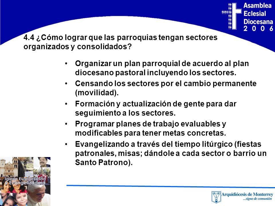 4.4 ¿Cómo lograr que las parroquias tengan sectores organizados y consolidados.