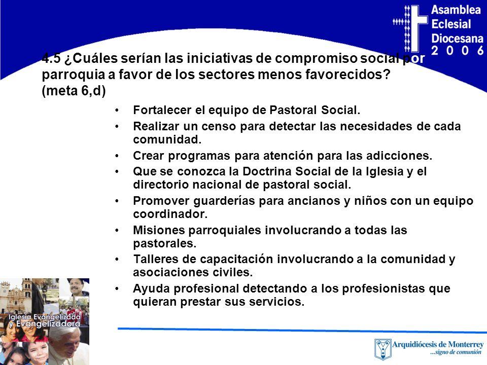 4.5 ¿Cuáles serían las iniciativas de compromiso social por parroquia a favor de los sectores menos favorecidos.