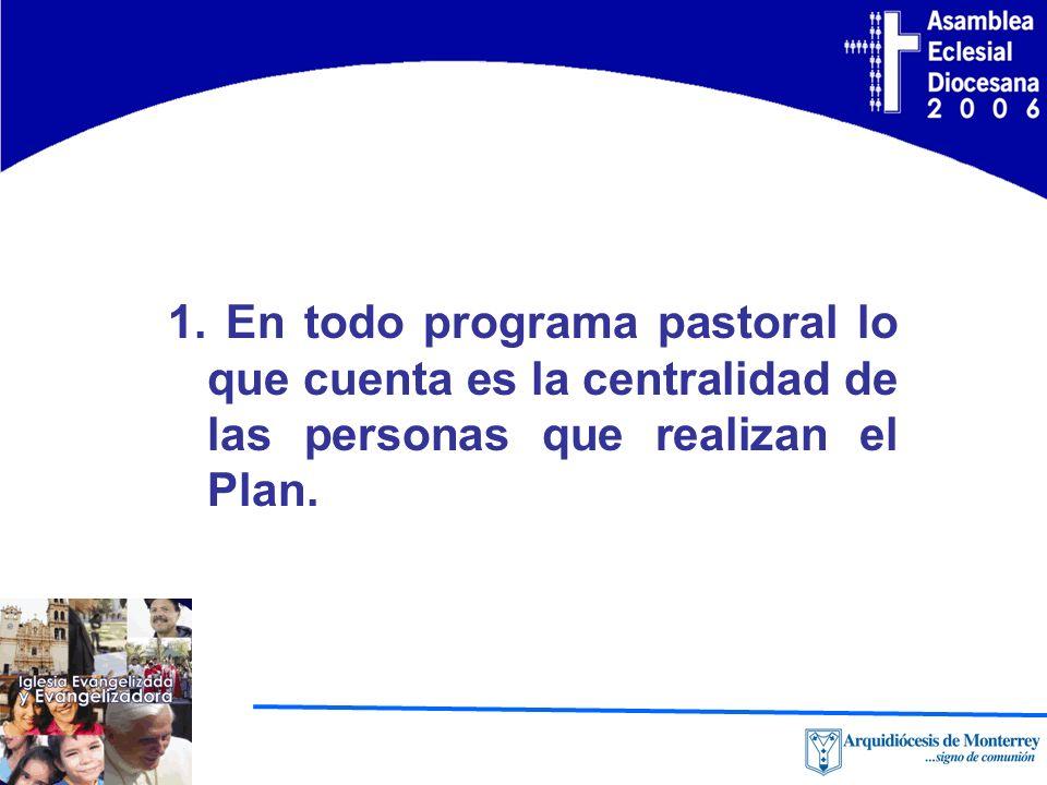 1. En todo programa pastoral lo que cuenta es la centralidad de las personas que realizan el Plan.