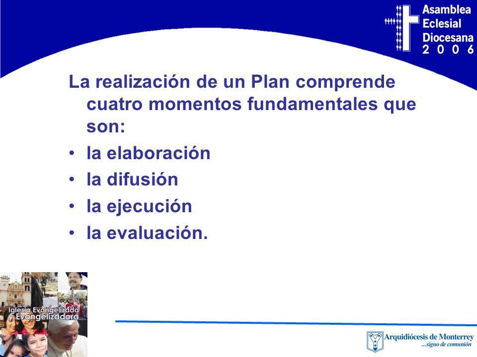 La realización de un Plan comprende cuatro momentos fundamentales que son: la elaboración la difusión la ejecución la evaluación.