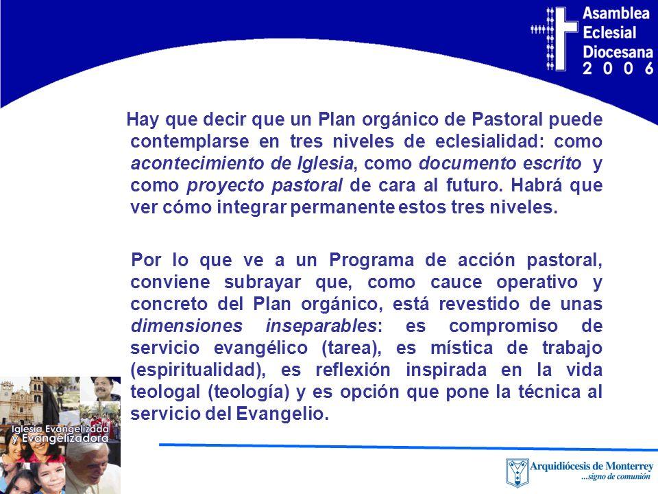 Hay que decir que un Plan orgánico de Pastoral puede contemplarse en tres niveles de eclesialidad: como acontecimiento de Iglesia, como documento escr