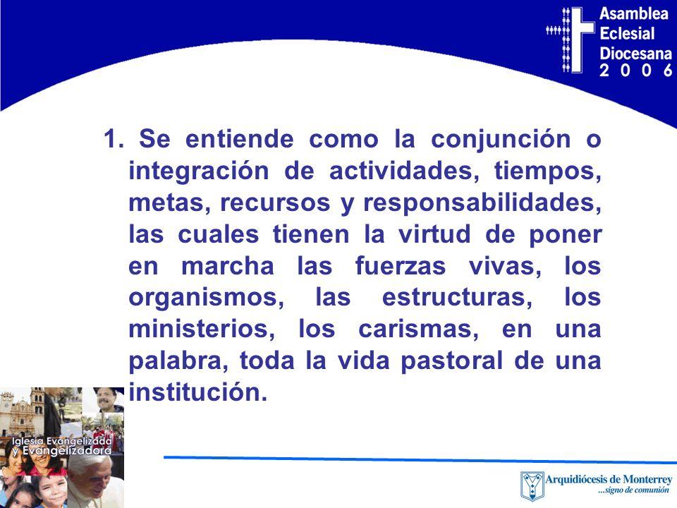 1. Se entiende como la conjunción o integración de actividades, tiempos, metas, recursos y responsabilidades, las cuales tienen la virtud de poner en