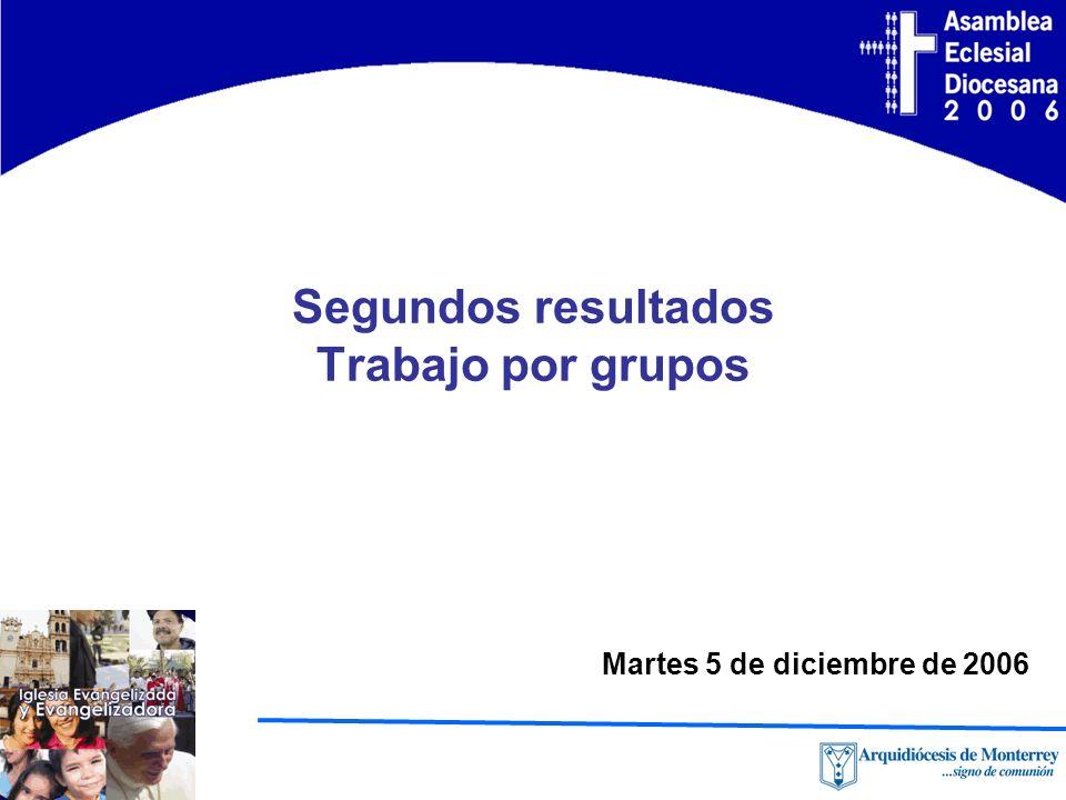 Segundos resultados Trabajo por grupos Martes 5 de diciembre de 2006