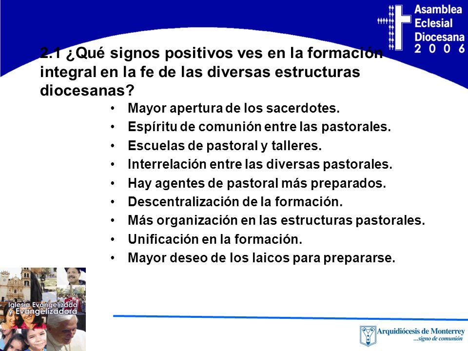 2.1 ¿Qué signos positivos ves en la formación integral en la fe de las diversas estructuras diocesanas.