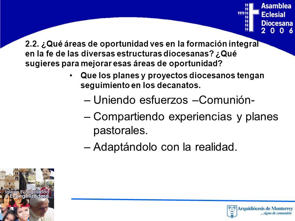 2.2. ¿Qué áreas de oportunidad ves en la formación integral en la fe de las diversas estructuras diocesanas? ¿Qué sugieres para mejorar esas áreas de