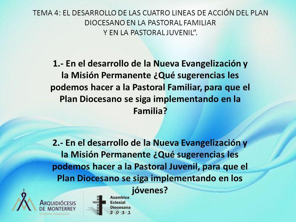 TEMA 4: EL DESARROLLO DE LAS CUATRO LINEAS DE ACCIÓN DEL PLAN DIOCESANO EN LA PASTORAL FAMILIAR Y EN LA PASTORAL JUVENIL. 1.- En el desarrollo de la N