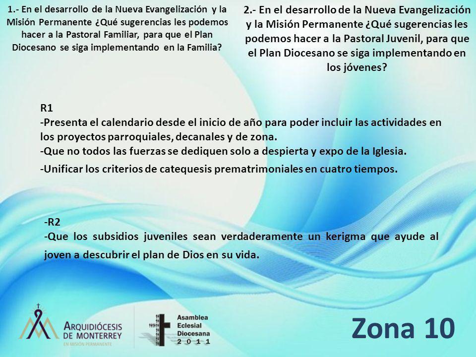 Zona 10 R1 -Presenta el calendario desde el inicio de año para poder incluir las actividades en los proyectos parroquiales, decanales y de zona. -Que