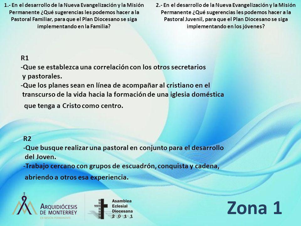 Zona 1 R1 -Que se establezca una correlación con los otros secretarios y pastorales. -Que los planes sean en línea de acompañar al cristiano en el tra