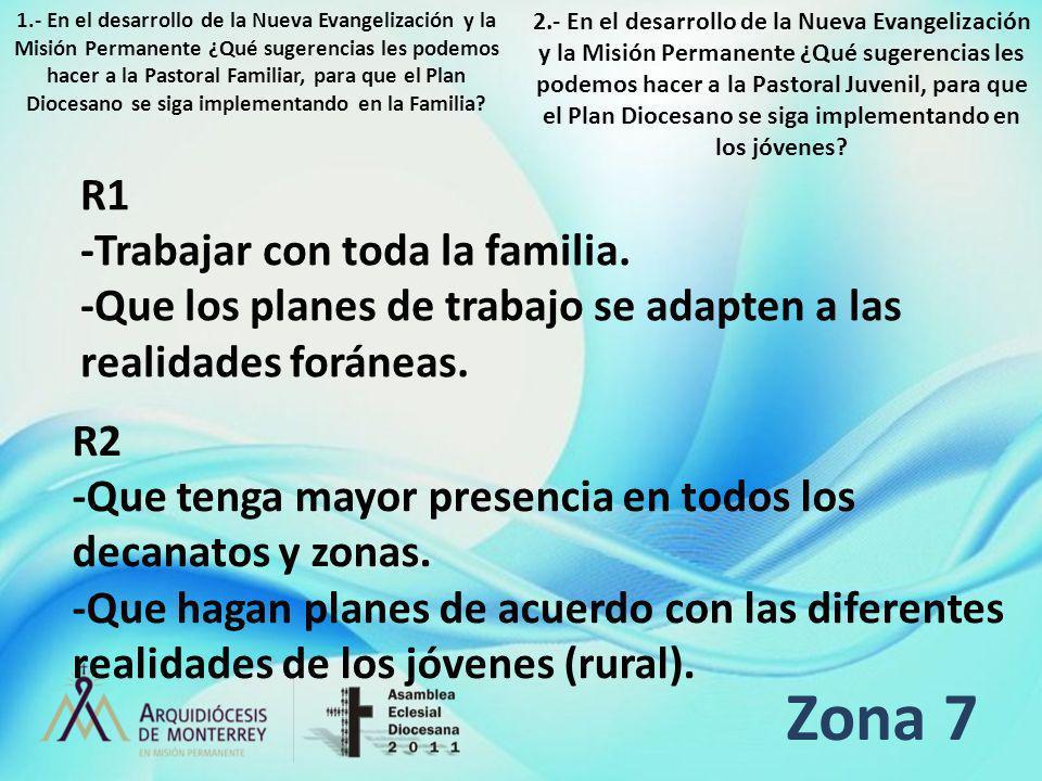 Zona 7 R1 -Trabajar con toda la familia. -Que los planes de trabajo se adapten a las realidades foráneas. R2 -Que tenga mayor presencia en todos los d