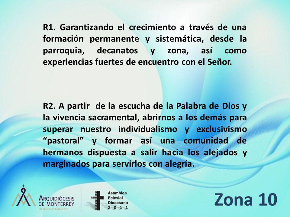 Zona 10 R1. Garantizando el crecimiento a través de una formación permanente y sistemática, desde la parroquia, decanatos y zona, así como experiencia