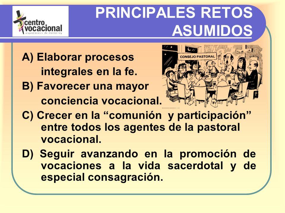 PRINCIPALES RETOS ASUMIDOS A) Elaborar procesos integrales en la fe.
