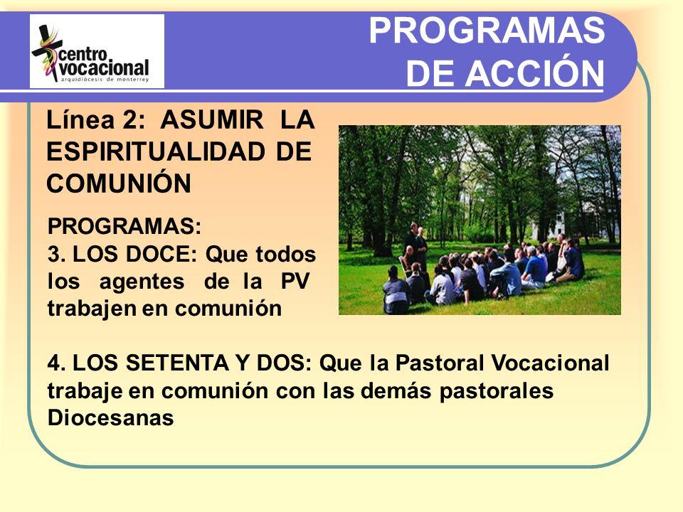 PROGRAMAS DE ACCIÓN Línea 2: ASUMIR LA ESPIRITUALIDAD DE COMUNIÓN PROGRAMAS: 3.