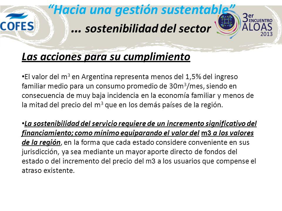 Las acciones para su cumplimiento El valor del m 3 en Argentina representa menos del 1,5% del ingreso familiar medio para un consumo promedio de 30m 3