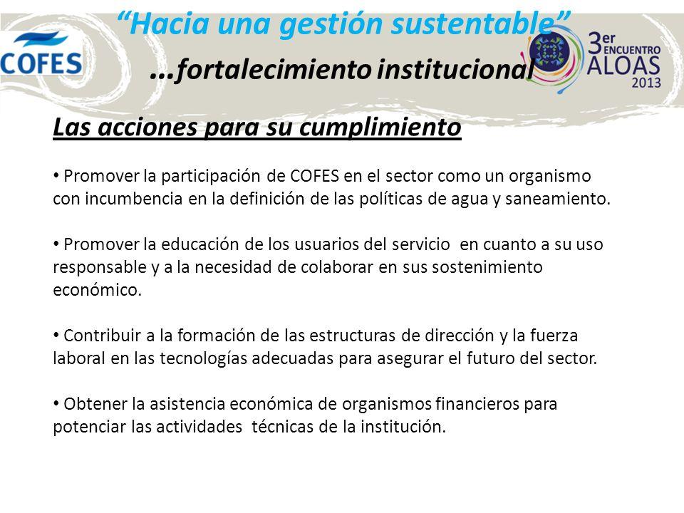 Hacia una gestión sustentable … fortalecimiento institucional Las acciones para su cumplimiento Promover la participación de COFES en el sector como u