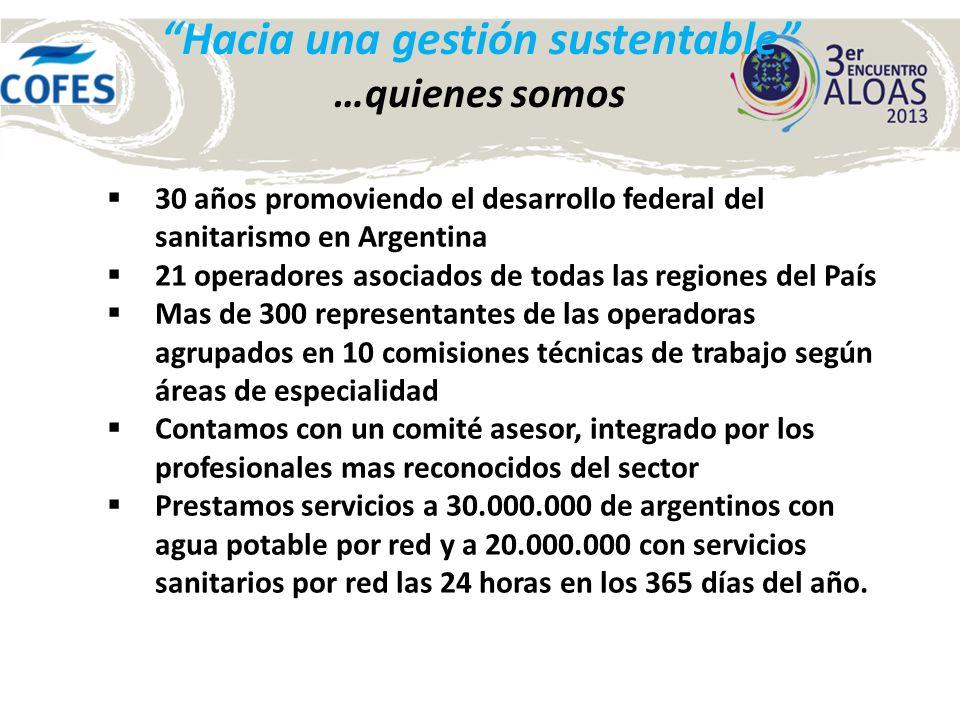 Hacia una gestión sustentable …quienes somos 30 años promoviendo el desarrollo federal del sanitarismo en Argentina 21 operadores asociados de todas l