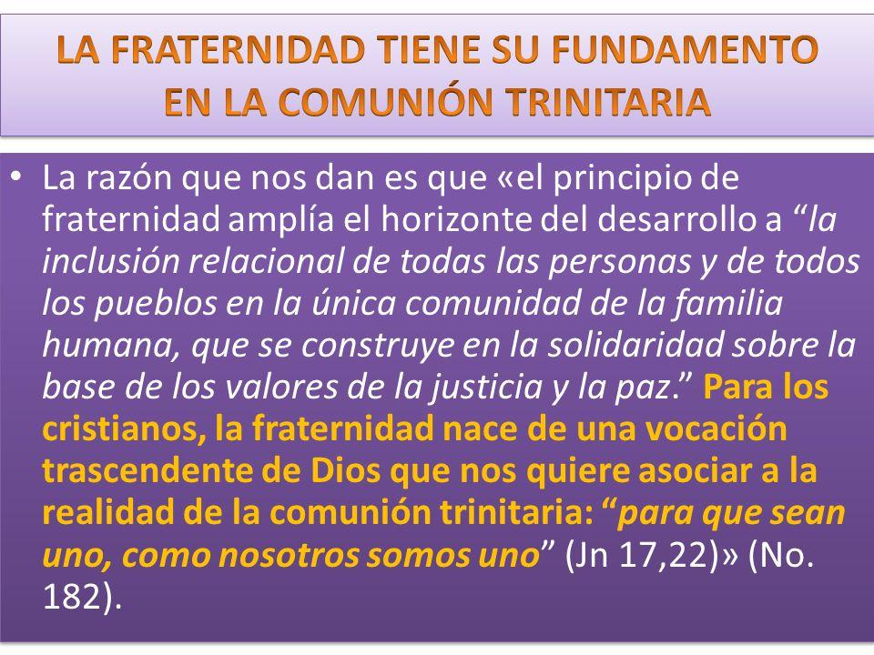 La razón que nos dan es que «el principio de fraternidad amplía el horizonte del desarrollo a la inclusión relacional de todas las personas y de todos los pueblos en la única comunidad de la familia humana, que se construye en la solidaridad sobre la base de los valores de la justicia y la paz.