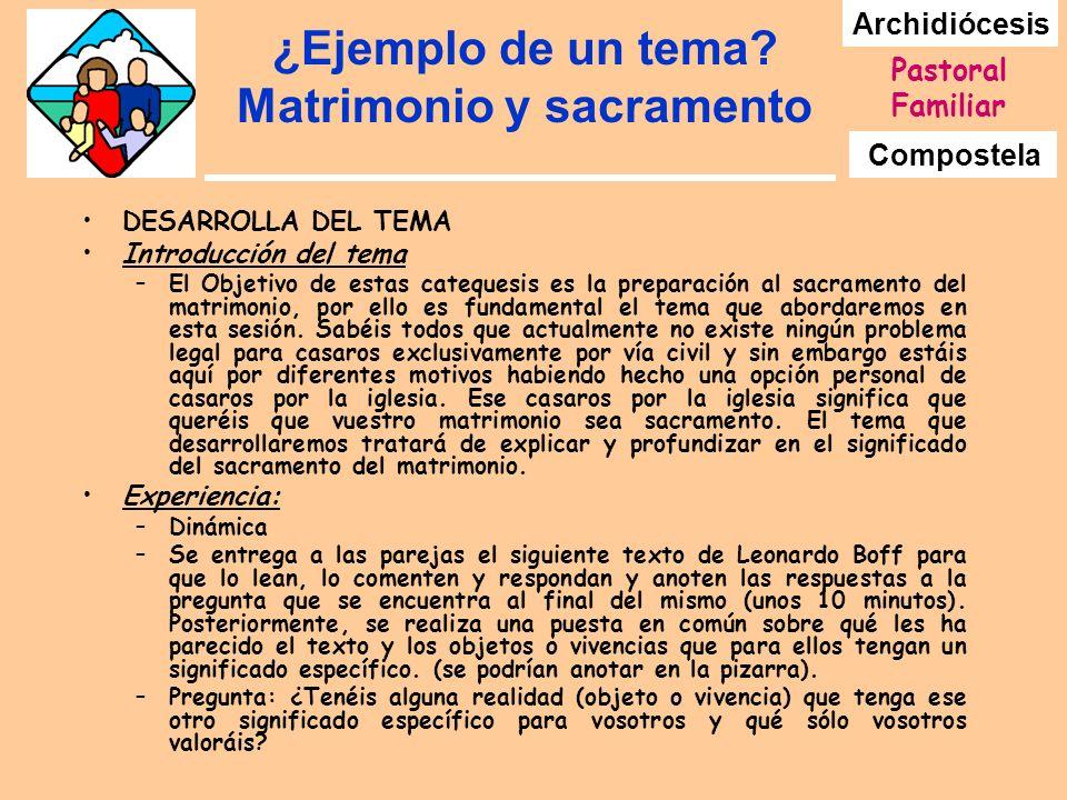 Archidiócesis Compostela Pastoral Familiar ¿Ejemplo de un tema? Matrimonio y sacramento DESARROLLA DEL TEMA Introducción del tema –El Objetivo de esta