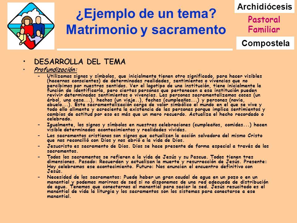 Archidiócesis Compostela Pastoral Familiar ¿Ejemplo de un tema? Matrimonio y sacramento DESARROLLA DEL TEMA Profundización: –Utilizamos signos y símbo