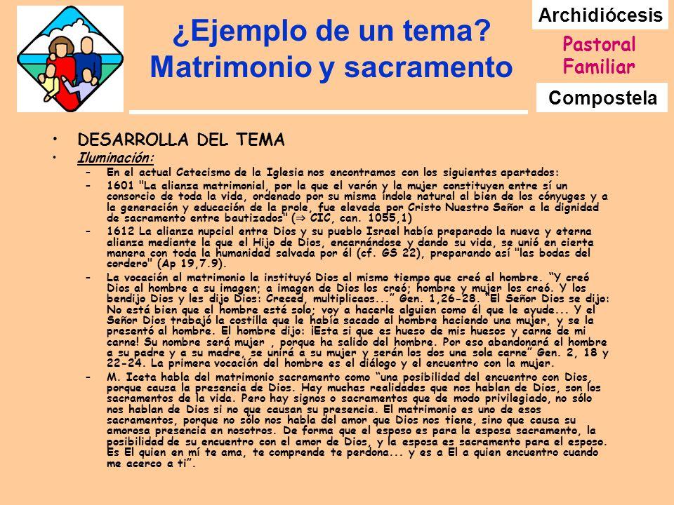 Archidiócesis Compostela Pastoral Familiar ¿Ejemplo de un tema? Matrimonio y sacramento DESARROLLA DEL TEMA Iluminación: –En el actual Catecismo de la