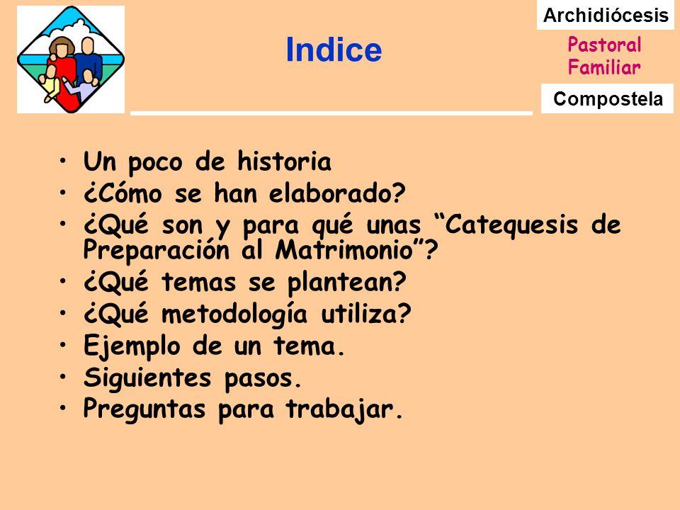 Archidiócesis Compostela Pastoral Familiar Indice Un poco de historia ¿Cómo se han elaborado? ¿Qué son y para qué unas Catequesis de Preparación al Ma