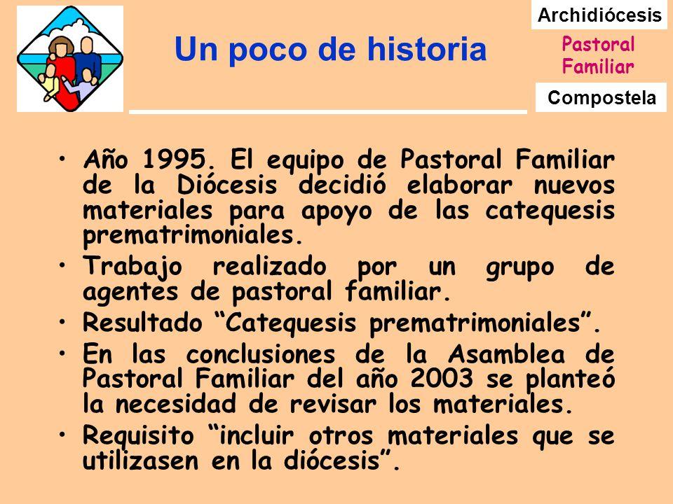 Archidiócesis Compostela Pastoral Familiar Un poco de historia Año 1995. El equipo de Pastoral Familiar de la Diócesis decidió elaborar nuevos materia
