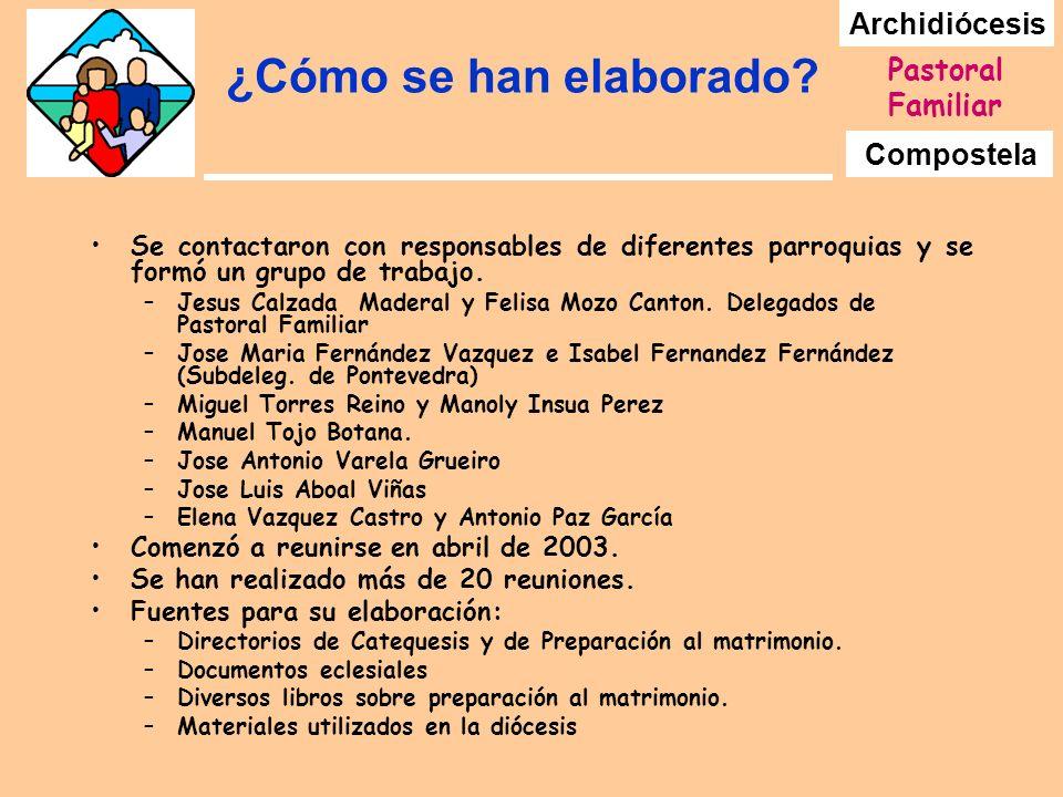 Archidiócesis Compostela Pastoral Familiar ¿Cómo se han elaborado? Se contactaron con responsables de diferentes parroquias y se formó un grupo de tra