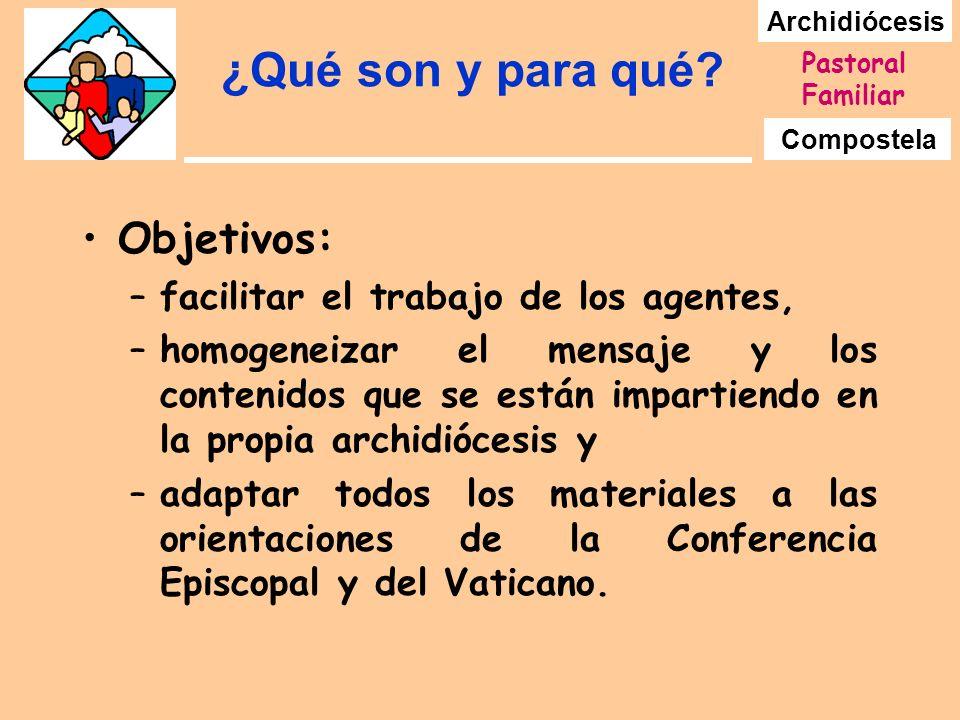 Archidiócesis Compostela Pastoral Familiar ¿Qué son y para qué? Objetivos: –facilitar el trabajo de los agentes, –homogeneizar el mensaje y los conten