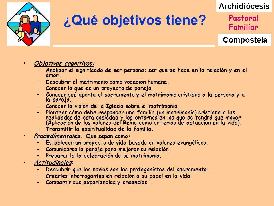 Archidiócesis Compostela Pastoral Familiar ¿Qué objetivos tiene? Objetivos cognitivos: –Analizar el significado de ser persona: ser que se hace en la