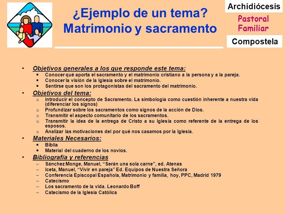 Archidiócesis Compostela Pastoral Familiar ¿Ejemplo de un tema? Matrimonio y sacramento Objetivos generales a los que responde este tema: Conocer qué