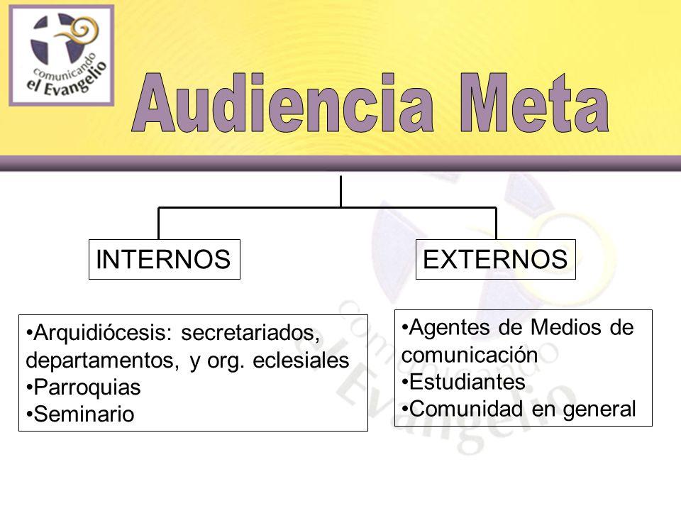 INTERNOSEXTERNOS Agentes de Medios de comunicación Estudiantes Comunidad en general Arquidiócesis: secretariados, departamentos, y org.