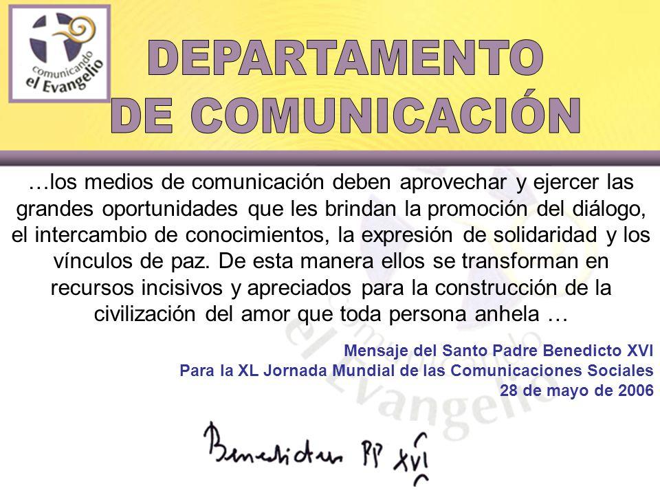 …los medios de comunicación deben aprovechar y ejercer las grandes oportunidades que les brindan la promoción del diálogo, el intercambio de conocimientos, la expresión de solidaridad y los vínculos de paz.