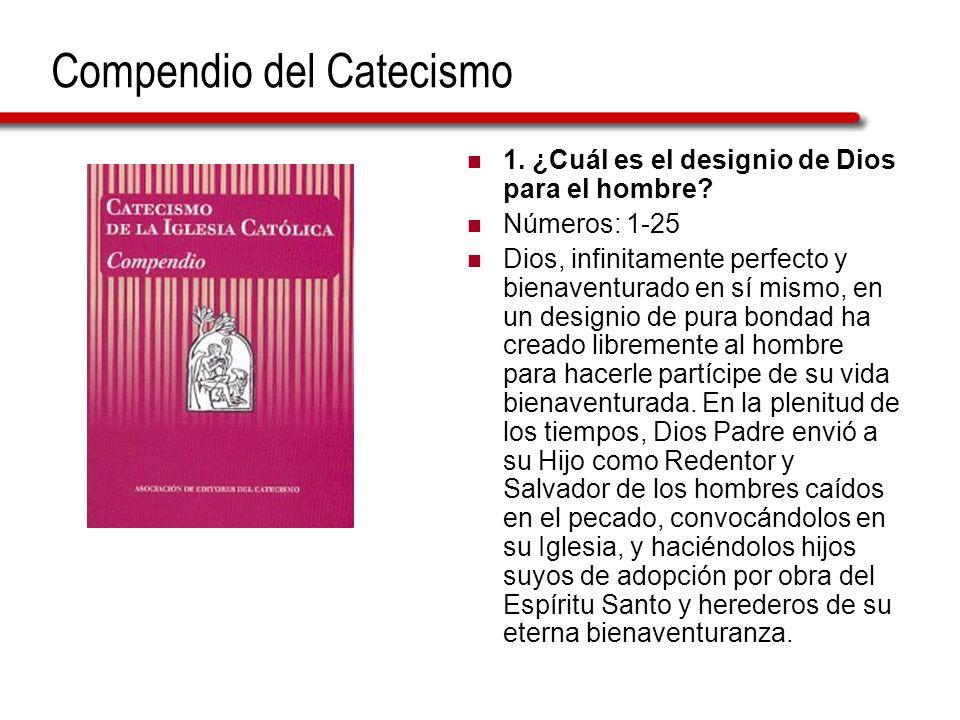 Compendio del Catecismo 1. ¿Cuál es el designio de Dios para el hombre? Números: 1-25 Dios, infinitamente perfecto y bienaventurado en sí mismo, en un