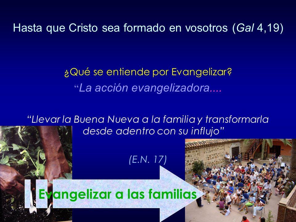 ¿Qué se entiende por Evangelizar? La acción evangelizadora.... Llevar la Buena Nueva a la familia y transformarla desde adentro con su influjo (E.N. 1