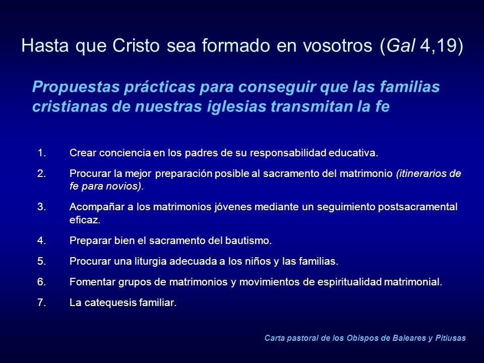 Hasta que Cristo sea formado en vosotros (Gal 4,19) 1.Crear conciencia en los padres de su responsabilidad educativa. 2.Procurar la mejor preparación