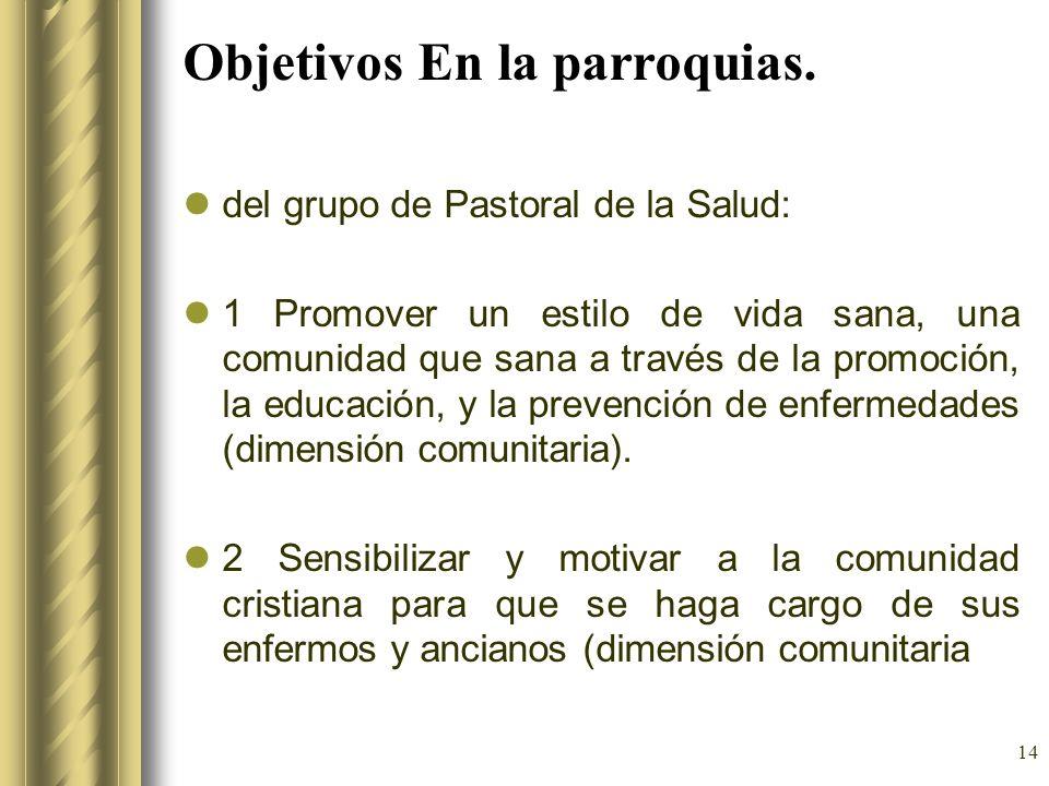 14 Objetivos En la parroquias. del grupo de Pastoral de la Salud: 1 Promover un estilo de vida sana, una comunidad que sana a través de la promoción,
