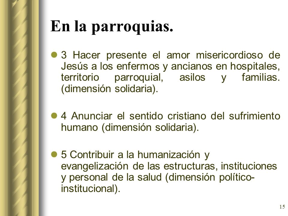 15 En la parroquias. 3 Hacer presente el amor misericordioso de Jesús a los enfermos y ancianos en hospitales, territorio parroquial, asilos y familia