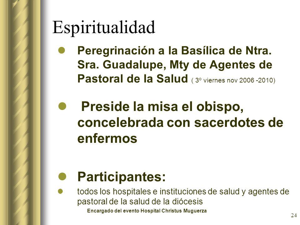 24 Espiritualidad Peregrinación a la Basílica de Ntra. Sra. Guadalupe, Mty de Agentes de Pastoral de la Salud ( 3º viernes nov 2006 -2010) Preside la