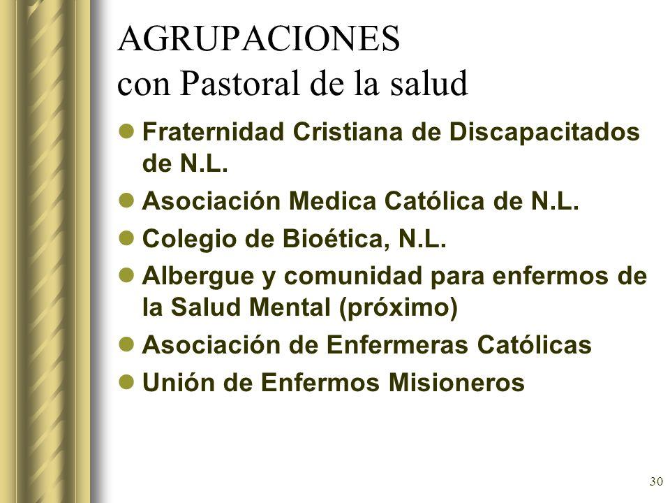 30 AGRUPACIONES con Pastoral de la salud Fraternidad Cristiana de Discapacitados de N.L. Asociación Medica Católica de N.L. Colegio de Bioética, N.L.