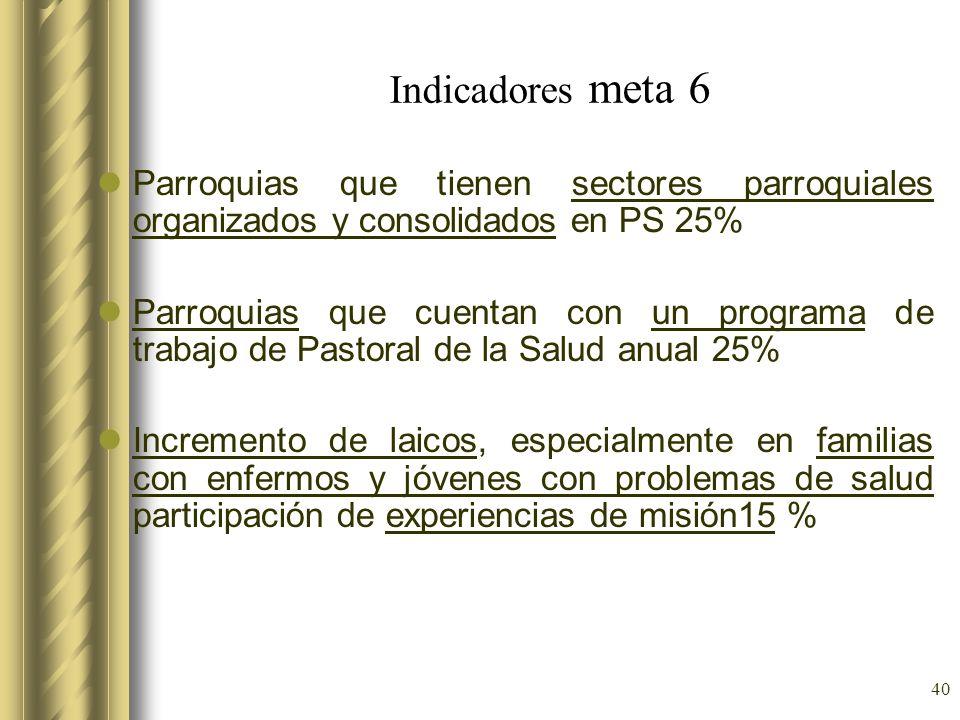 40 Indicadores meta 6 Parroquias que tienen sectores parroquiales organizados y consolidados en PS 25% Parroquias que cuentan con un programa de traba