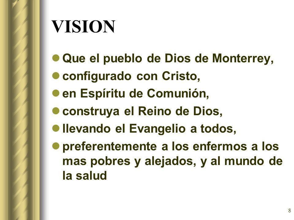 8 VISION Que el pueblo de Dios de Monterrey, configurado con Cristo, en Espíritu de Comunión, construya el Reino de Dios, llevando el Evangelio a todo