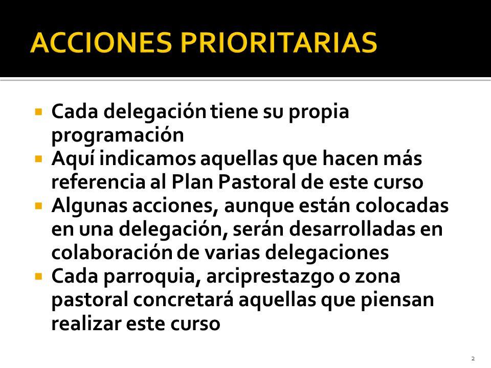 Cada delegación tiene su propia programación Aquí indicamos aquellas que hacen más referencia al Plan Pastoral de este curso Algunas acciones, aunque