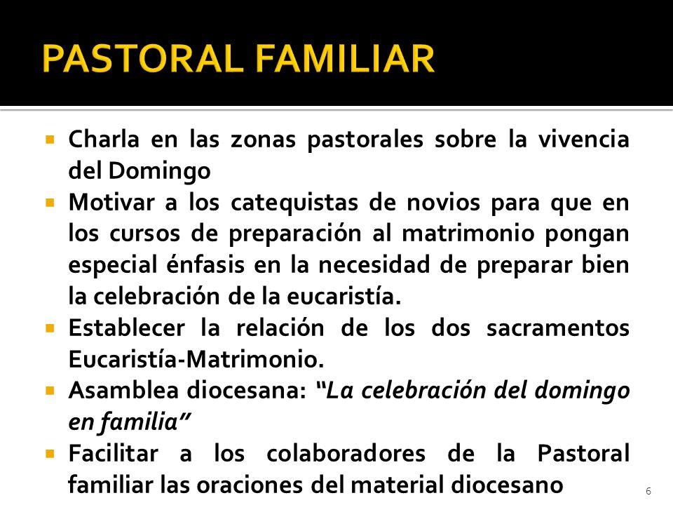 Charla en las zonas pastorales sobre la vivencia del Domingo Motivar a los catequistas de novios para que en los cursos de preparación al matrimonio p