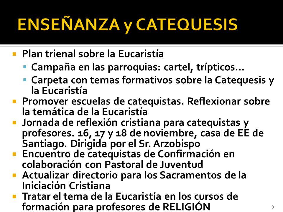 Plan trienal sobre la Eucaristía Campaña en las parroquias: cartel, trípticos… Carpeta con temas formativos sobre la Catequesis y la Eucaristía Promov