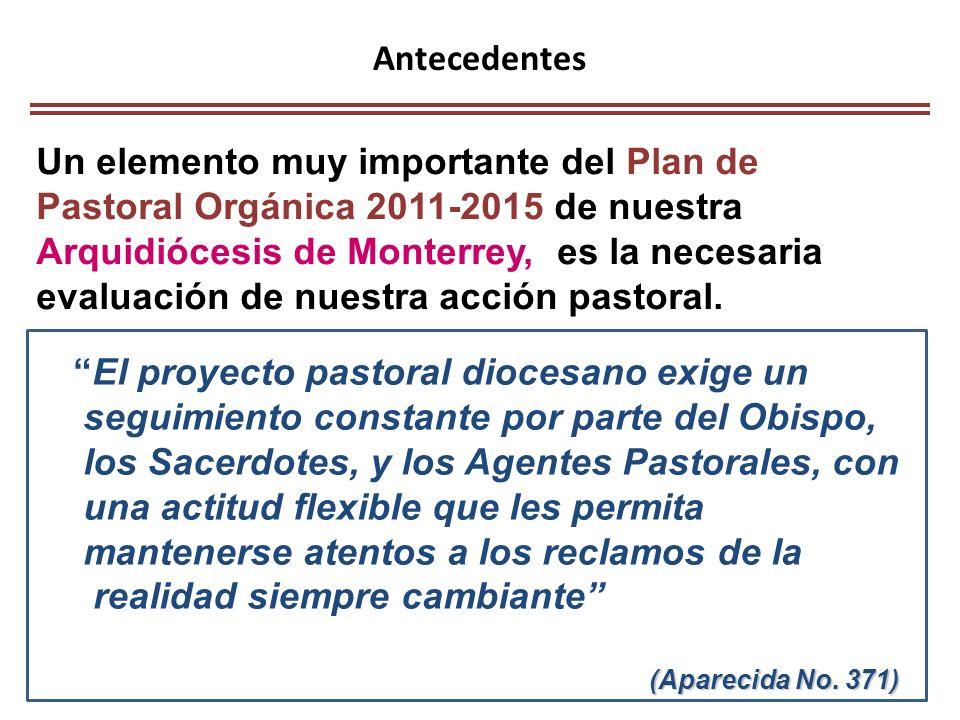 Antecedentes Un elemento muy importante del Plan de Pastoral Orgánica 2011-2015 de nuestra Arquidiócesis de Monterrey, es la necesaria evaluación de n