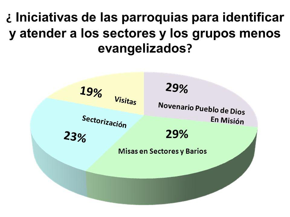 ¿ Iniciativas de las parroquias para identificar y atender a los sectores y los grupos menos evangelizados ? Misas en Sectores y Barios 29% Novenario